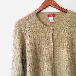 • anne klein sport merino wool button cardigan •
